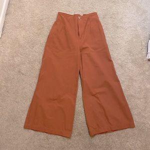 Pumpkin rust palazzo linen pants size 00